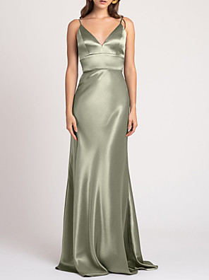 cheap Evening Dresses-Sheath / Column V Neck Floor Length Polyester Bridesmaid Dress with Ruching