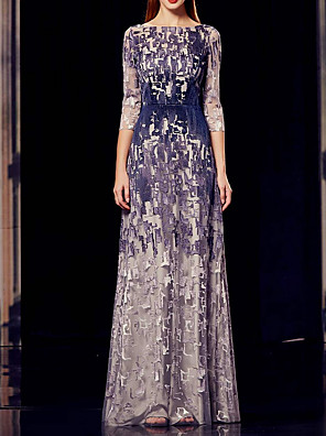 cheap Prom Dresses-Sheath / Column Mother of the Bride Dress Elegant Bateau Neck Floor Length Polyester 3/4 Length Sleeve with Draping Appliques 2020