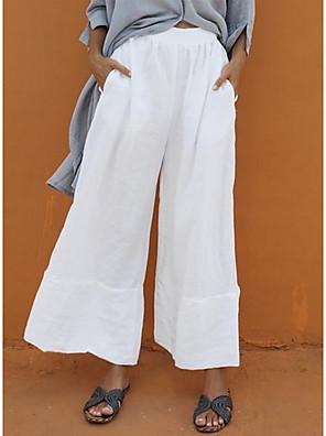 cheap Women's Pants-Women's Basic Loose Cotton Wide Leg Pants - Solid Colored White Black Royal Blue S / M / L