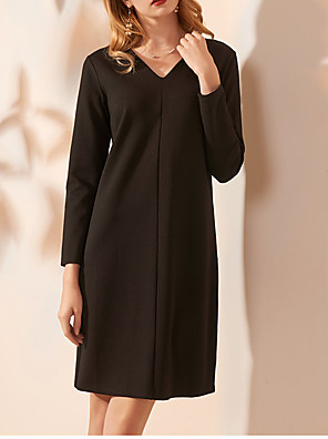 cheap Cocktail Dresses-Sheath / Column Minimalist Black Party Wear Cocktail Party Dress V Neck Long Sleeve Knee Length Spandex with Criss Cross 2020