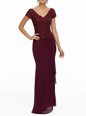 cheap Evening Dresses-Sheath / Column Elegant Red Wedding Guest Formal Evening Dress V Neck Short Sleeve Floor Length Chiffon with Sequin Draping Appliques 2020
