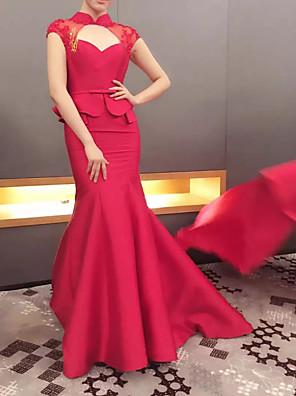 cheap Evening Dresses-Mermaid / Trumpet Peplum Red Wedding Guest Formal Evening Dress High Neck Short Sleeve Sweep / Brush Train Satin with Bow(s) Ruffles Appliques 2020