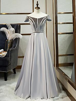 cheap Prom Dresses-A-Line Minimalist Prom Formal Evening Dress Illusion Neck Short Sleeve Floor Length Satin Velvet with Pleats 2020