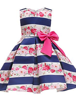cheap Girls' Dresses-Kids Toddler Girls' Basic Cute Floral Print Sleeveless Knee-length Dress Blue