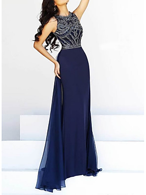 cheap Evening Dresses-Sheath / Column Mother of the Bride Dress Elegant Jewel Neck Floor Length Lace Sleeveless with Beading Sequin 2020