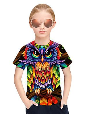 cheap Boys' Tops-Kids Girls' Active Punk & Gothic 3D Plaid Animal Short Sleeve Tee Rainbow