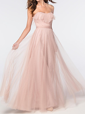cheap Bridesmaid Dresses-A-Line Elegant Pink Engagement Prom Dress Sweetheart Neckline Sleeveless Floor Length Tulle with Ruffles 2020