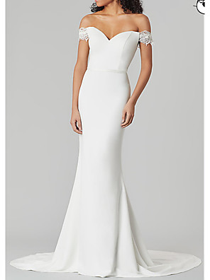 cheap Wedding Dresses-Mermaid / Trumpet Wedding Dresses V Neck Sweep / Brush Train Satin Short Sleeve Country Plus Size with Draping 2020