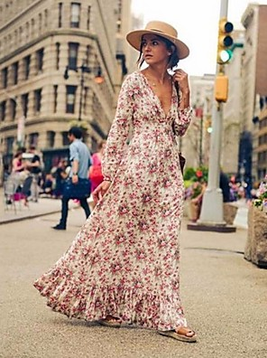 cheap Maxi Dresses-Women's Maxi Swing Dress - Long Sleeve Floral Deep V Blushing Pink S M L XL XXL