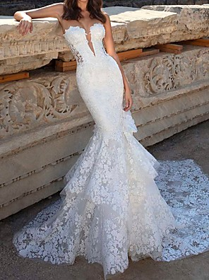cheap Wedding Dresses-Mermaid / Trumpet Wedding Dresses Strapless Court Train Polyester Sleeveless Country Plus Size with Lace Insert Appliques 2020