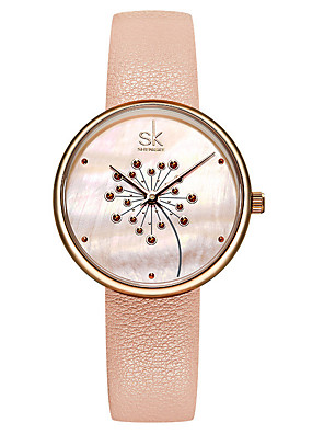 cheap Quartz Watches-Women's Quartz Watches Luxury Fashion Genuine Leather Japanese Quartz Blushing Pink Black Water Resistant / Waterproof 30 m 1 pc Analog One Year Battery Life