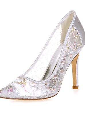 cheap Evening Dresses-Women's Wedding Shoes Mesh Stiletto Heel Pointed Toe Lace Sweet Spring & Summer Red / Pink / Gold / Party & Evening