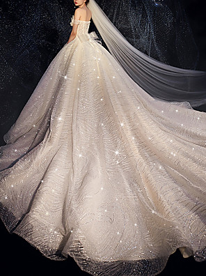 cheap Wedding Dresses-Ball Gown Wedding Dresses Off Shoulder Watteau Train Lace Tulle Cap Sleeve Formal Wedding Dress in Color Sparkle & Shine Plus Size with Bow(s) Lace Insert Appliques 2020