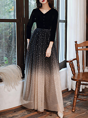 cheap Evening Dresses-A-Line Glittering Black Wedding Guest Formal Evening Dress V Neck 3/4 Length Sleeve Floor Length Tulle Velvet with Buttons Sequin 2020