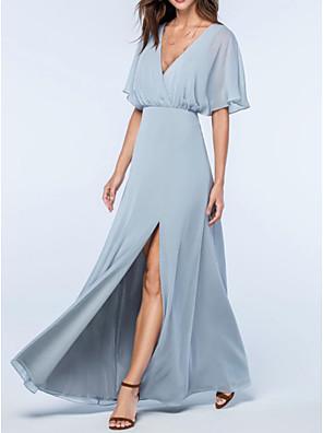 cheap Prom Dresses-A-Line Elegant Blue Wedding Guest Prom Dress V Neck Short Sleeve Floor Length Chiffon with Split 2020