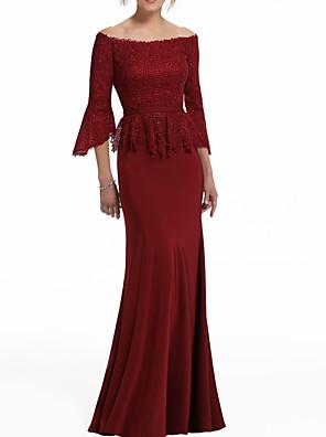 cheap Quartz Watches-Mermaid / Trumpet Peplum Wedding Guest Formal Evening Dress Off Shoulder Half Sleeve Floor Length Polyester with Lace Insert 2020