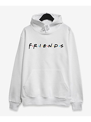 cheap Women's Skirts-Women's Hoodie Color Block / Letter Casual / Street chic White Black Red Blushing Pink Gray S M L XL XXL