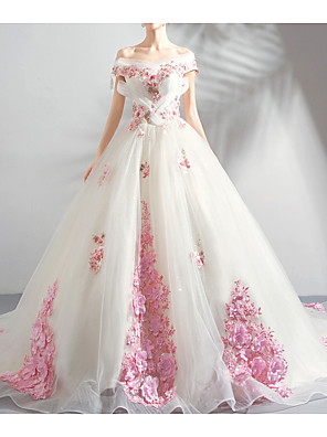 cheap Evening Dresses-Ball Gown Wedding Dresses Off Shoulder Court Train Chiffon Tulle Sleeveless Formal Wedding Dress in Color Plus Size with Draping Lace Insert Appliques 2020
