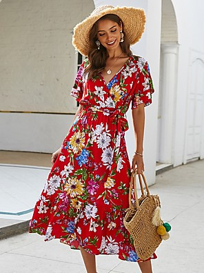 cheap For Young Women-Women's Wrap Dress Midi Dress - Short Sleeves Floral Print Summer V Neck Holiday Black Red Yellow S M L XL