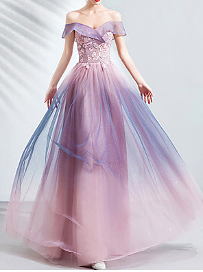 cheap Prom Dresses-A-Line Strapless Floor Length Lace / Tulle Bridesmaid Dress with Appliques
