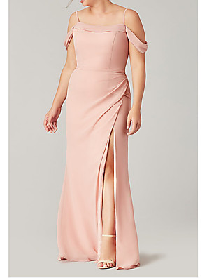 cheap Cocktail Dresses-Sheath / Column Off Shoulder Floor Length Polyester Bridesmaid Dress with Pleats / Split Front