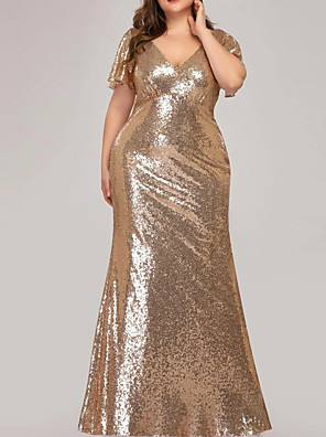 cheap Prom Dresses-Sheath / Column Plus Size Gold Party Wear Prom Dress V Neck Short Sleeve Floor Length Polyester with Sequin 2020