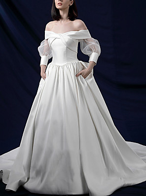 cheap Wedding Dresses-A-Line Wedding Dresses Off Shoulder Sweep / Brush Train Tulle Long Sleeve Beach with Ruched Lace Insert 2020