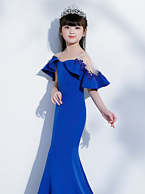 cheap Girls' Dresses-Mermaid / Trumpet Sweep / Brush Train Wedding / Party / Pageant Flower Girl Dresses - Spun Rayon Short Sleeve Illusion Neck with Lace