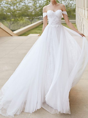 cheap Wedding Dresses-A-Line Wedding Dresses Off Shoulder Court Train Tulle Short Sleeve Formal Plus Size with Draping Lace Insert 2020