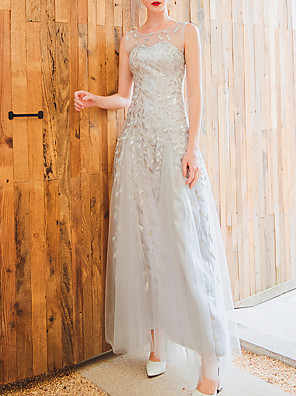 cheap Bridesmaid Dresses-A-Line Jewel Neck Floor Length Lace / Tulle Bridesmaid Dress with Appliques