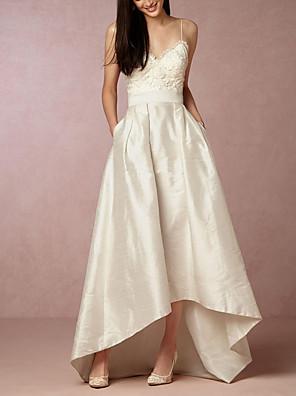 cheap Prom Dresses-A-Line Wedding Dresses V Neck Asymmetrical Satin Sleeveless Formal Little White Dress with Appliques 2020