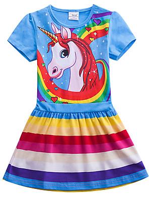 cheap Girls' Dresses-Kids Girls' Sweet Cute Unicorn Color Block Rainbow Cartoon Print Short Sleeve Knee-length Dress Fuchsia