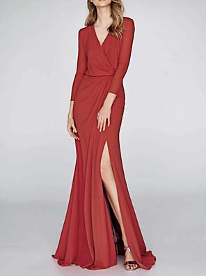 cheap Evening Dresses-Mermaid / Trumpet Elegant Red Wedding Guest Formal Evening Dress V Neck 3/4 Length Sleeve Floor Length Polyester with Draping Split 2020