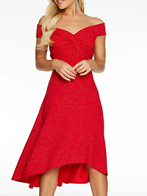 cheap Special Occasion Dresses-A-Line Minimalist Red Wedding Guest Cocktail Party Dress Off Shoulder Short Sleeve Knee Length Polyester with Draping 2020