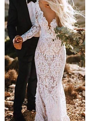 cheap Wedding Dresses-Mermaid / Trumpet Wedding Dresses Plunging Neck Court Train Polyester Long Sleeve Country Plus Size with Lace Insert Appliques 2020