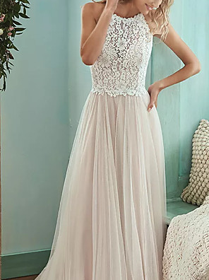 cheap Evening Dresses-A-Line Wedding Dresses Jewel Neck Floor Length Lace Tulle Sleeveless Casual Boho Plus Size with Draping 2020