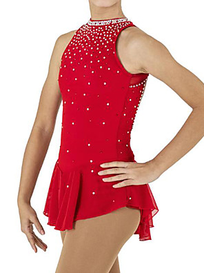 cheap Ice Skating Dresses , Pants & Jackets-Figure Skating Dress Women's Girls' Ice Skating Dress Red Spandex High Elasticity Competition Skating Wear Patchwork Crystal / Rhinestone Sleeveless Ice Skating Figure Skating / Kids
