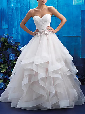 cheap Wedding Dresses-Ball Gown Wedding Dresses Strapless Sweep / Brush Train Tulle Polyester Sleeveless Country Plus Size with Beading Draping Appliques 2020