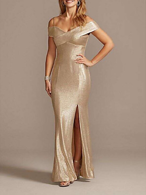 cheap Mother of the Bride Dresses-Mermaid / Trumpet Mother of the Bride Dress Sparkle & Shine Off Shoulder Floor Length Polyester Short Sleeve with Split Front 2020