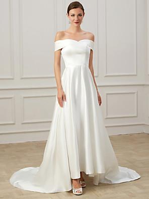 cheap Wedding Dresses-A-Line Wedding Dresses Off Shoulder Court Train Satin Short Sleeve Formal Vintage Plus Size with Draping 2020