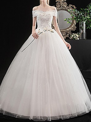 cheap Wedding Dresses-A-Line Wedding Dresses Off Shoulder Floor Length Tulle Short Sleeve Vintage with Lace Insert Embroidery 2020
