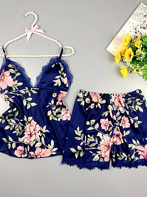 cheap Sexy Bodies-Women's Deep V Suits Pajamas Floral