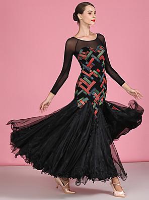 cheap Evening Dresses-Ballroom Dance Dress Pattern / Print Split Joint Women's Performance Long Sleeve High Organza Tulle Linen / Cotton Blend