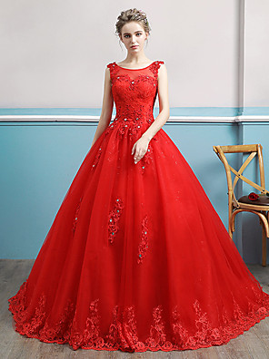 cheap Prom Dresses-Ball Gown Wedding Dresses Bateau Neck Watteau Train Lace Tulle Polyester Sleeveless Romantic Red with Lace Crystals 2020