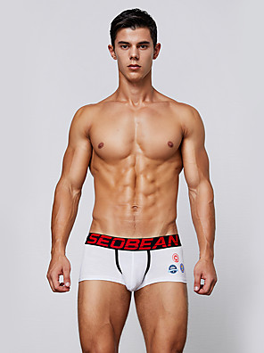 cheap Men's Exotic Underwear-Men's Basic Boxers Underwear / Briefs Underwear - Asian Size Low Waist Blue White Black M L XL