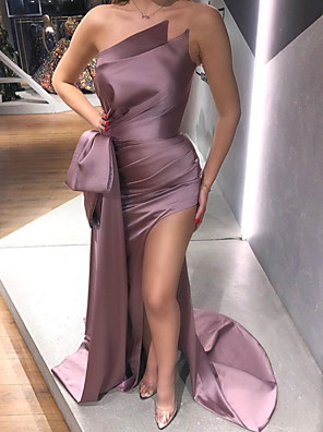cheap Evening Dresses-Mermaid / Trumpet Sexy Purple Engagement Formal Evening Dress Strapless Sleeveless Sweep / Brush Train Polyester with Bow(s) Draping Split 2020