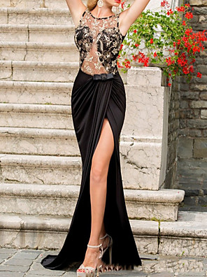 cheap Evening Dresses-Mermaid / Trumpet Wedding Dresses Jewel Neck Sweep / Brush Train Lace Sleeveless Formal Black with Lace Insert Split Front 2020