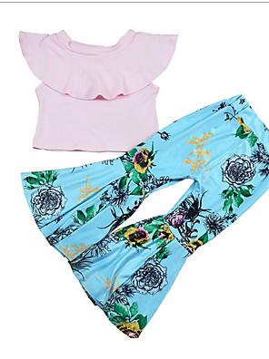 cheap Girls' Dresses-Baby Girls' Basic Polka Dot Short Sleeve Regular Clothing Set Blushing Pink