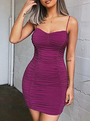 cheap Mini Dresses-Women's Mini Bodycon Dress - Sleeveless Solid Color Backless Strapless Strap Sexy Slim Purple S M L XL