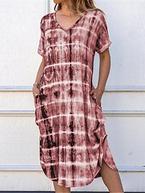 tanie Sukienki-Damskie Sukienka trapezowa Sukienka midi - Krótki rękaw Nadruk W serek Fioletowy Wino Fuksja Khaki Zielony Tęczowy Szary Jasnoniebieski S M L XL XXL